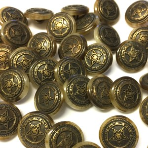17mm brown variegated resin buttons with bronze metal centre
