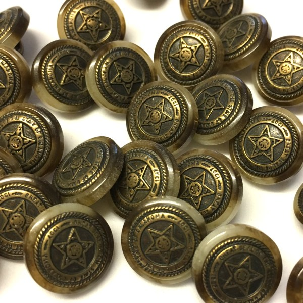 14mm brown variegated resin buttons with bronze metal centre