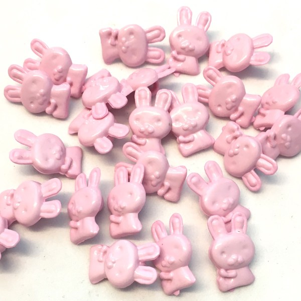 17mm pink bunny rabbit shaped buttons