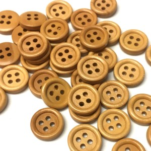 15mm light wood buttons with four holes