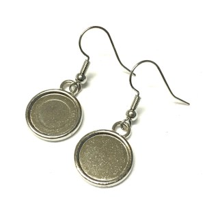 Silver plated cabochon dangle earring