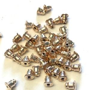 Light gold metal earring bullet backs