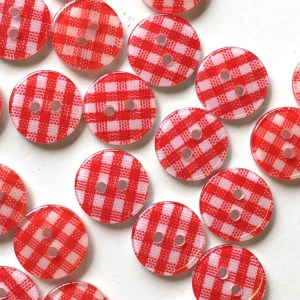 Red gingham check plaid buttons, 13mm