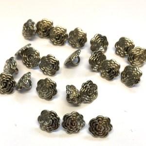 metal flower buttons