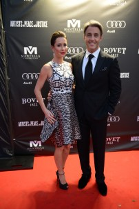Ben and Jessica Mulroney arrive at the Artists for Peace and Justice Festival Gala co-presented by Audi Canada at Casa Loma during the Toronto International Film Festival.