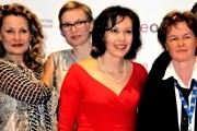Kate Trotter Christine Horn Shauna MacDonald and Kate Johnston on the red carpet at The 2014 Inside Out LGBTQ Film Frstival Toronto Ontario