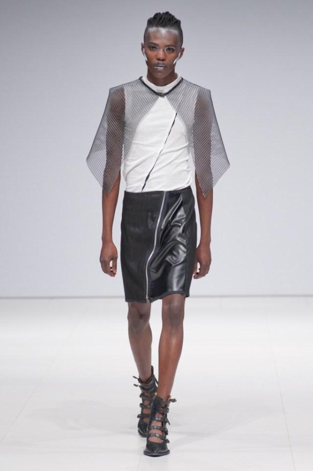 Model/designer Victor Keita walking for Dystropolis at FAT 2015