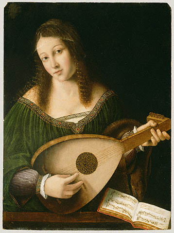 Lady Playing a Lute, Bartolomeo Veneto about 1530