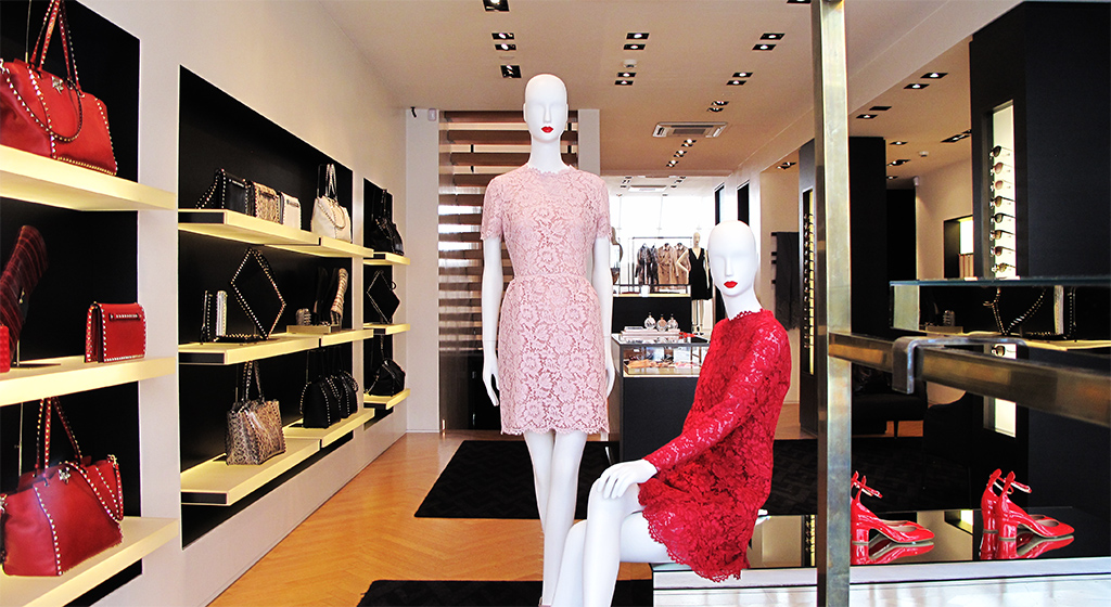 Valentino Cocktail Heavy Lace Dress Window Display 2013