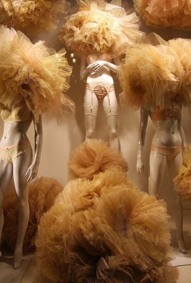 Gold Tulle Lingerie Valentine Window Display at Galeries Lafayette Berlin  Best Window Displays