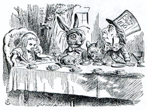 Alice at the Mad Hatter's tea party — Illustration to the fifth chapter of Alice in Wonderland by John Tenniel.