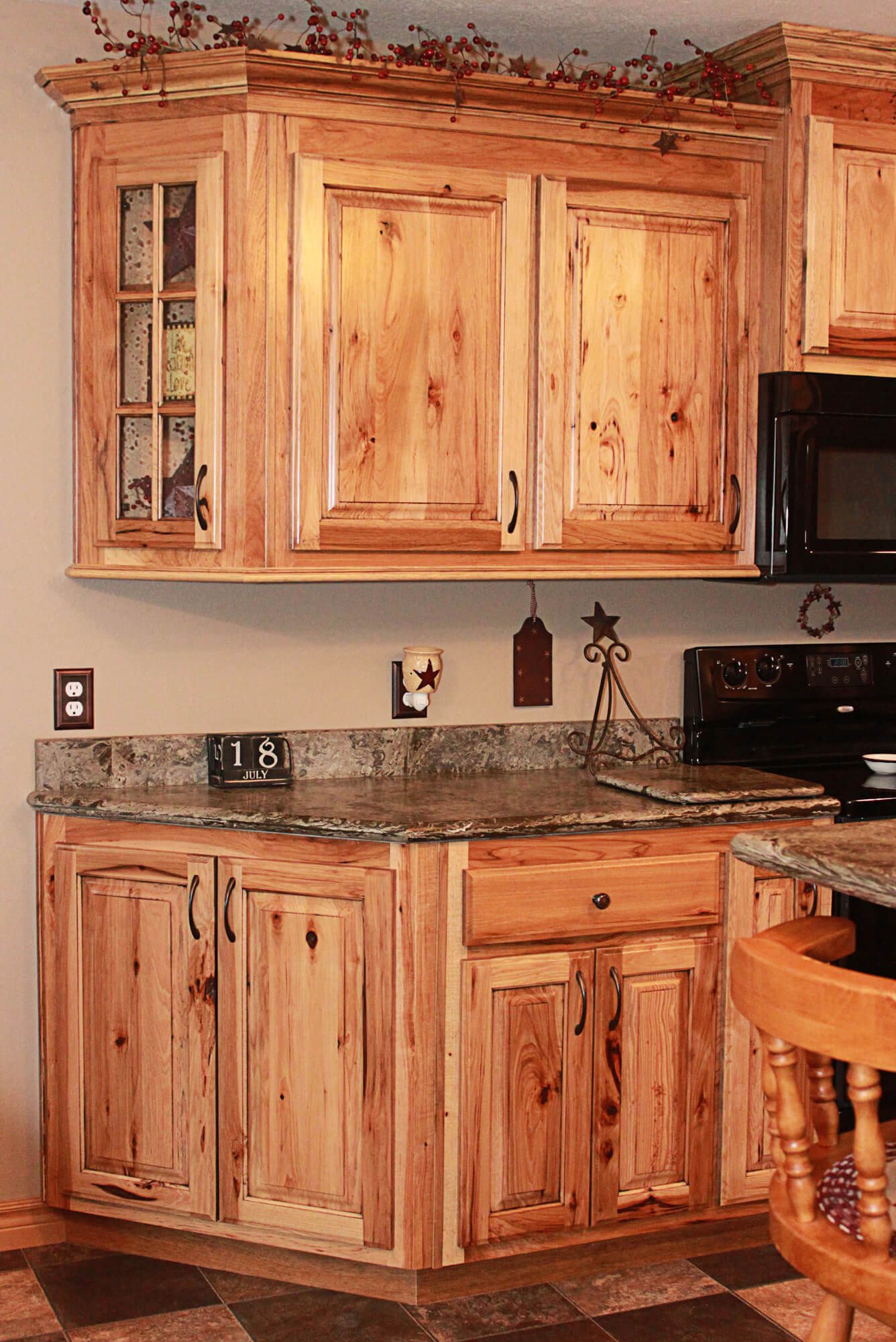 hickory kitchen cabinets bench seating with storage the plus rustic