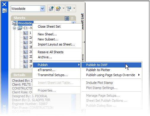 Publishing from Sheet Set Manager