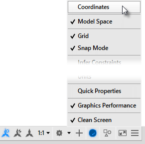 Where did the Coordinate readout in the AutoCAD status bar go?