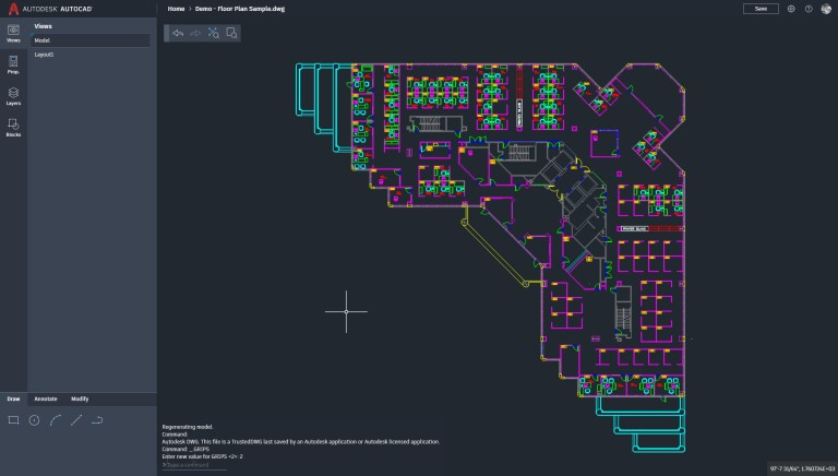 AutoCAD Web with Sample Floor Plan