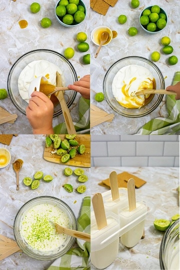 4 pictures showing mixing honey with yoghurt and key limes