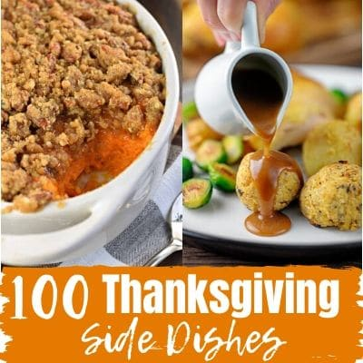 sweet potato casserole and stuffing balls with gravy being poured on top