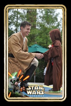 Aiden being greeted by the Jedi Master