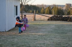 Aiden and Abby on their Easter Egg Hunt.