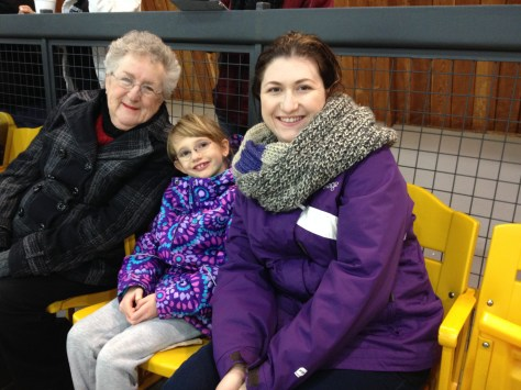 Mama, Abby and Mommy watching Aiden;s hockey game