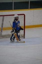 Abby playing goalie.