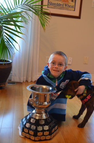 Aiden and Marley with his consolation trophy