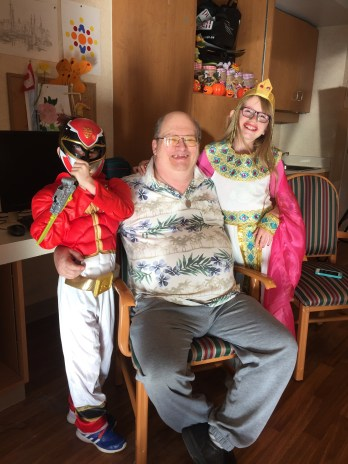Abby & Aiden visiting Grandpa on Halloween