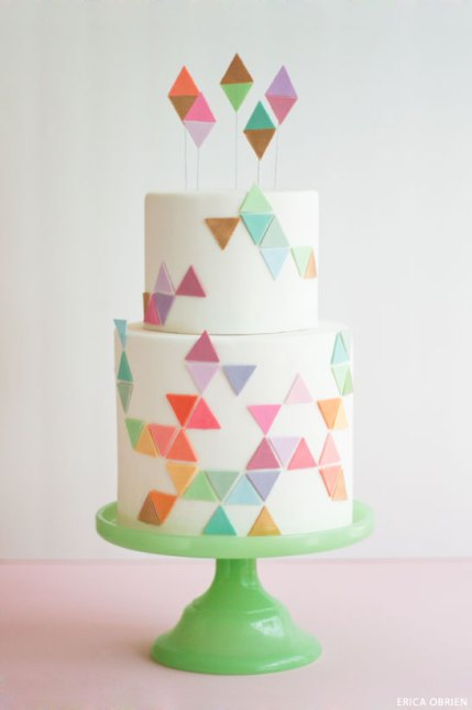 Cake Geometric Cake Design Two Tier Cake with Edible Fondant Triangles Light Green Cake Stand Colorful Cake Design