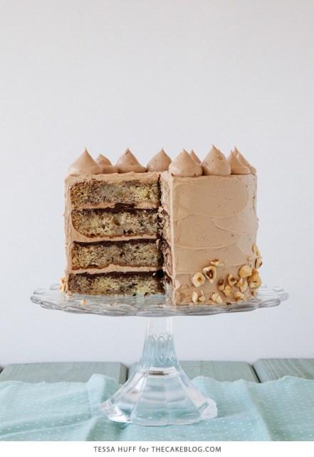 Banana Chocolate Hazelnut Cake   Recipe by Tessa Huff for TheCakeBlog.com