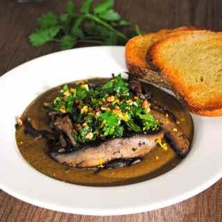 Mushroom Soup with Hazelnut Gremolata