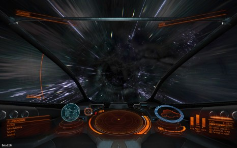 Travelling between systems is achieved using the frame shift drive, which seems to employ a wormhole type mechanism for travelling huge distances in a matter of seconds (beta 2 screenshot)