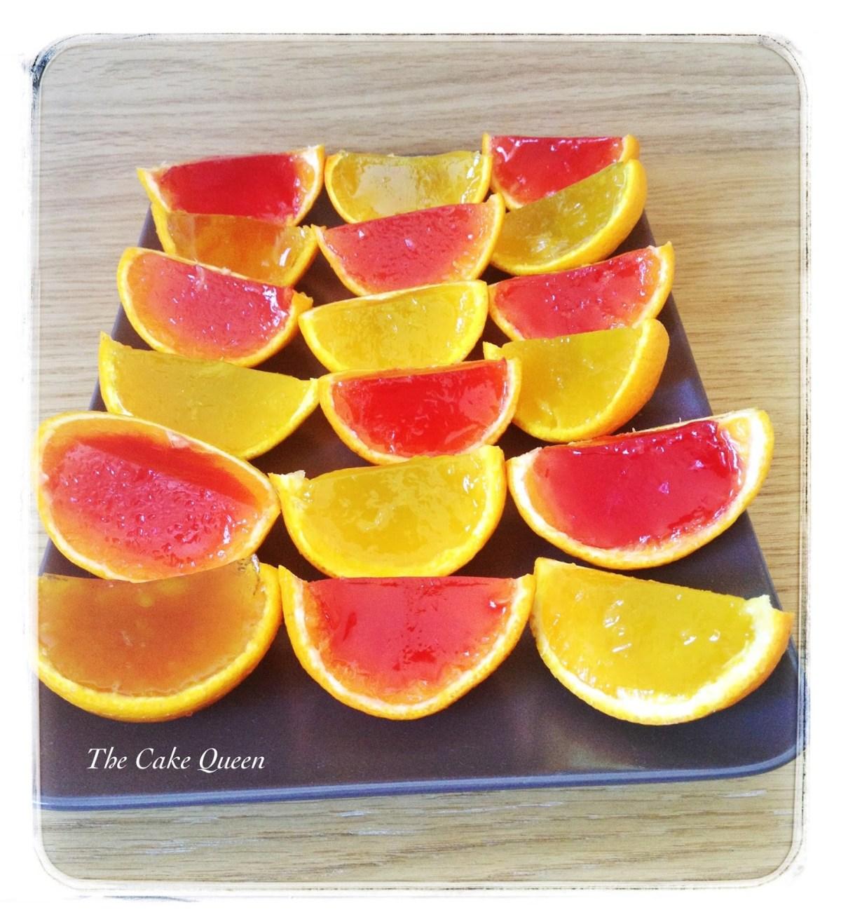 Gelatinas en naranjas