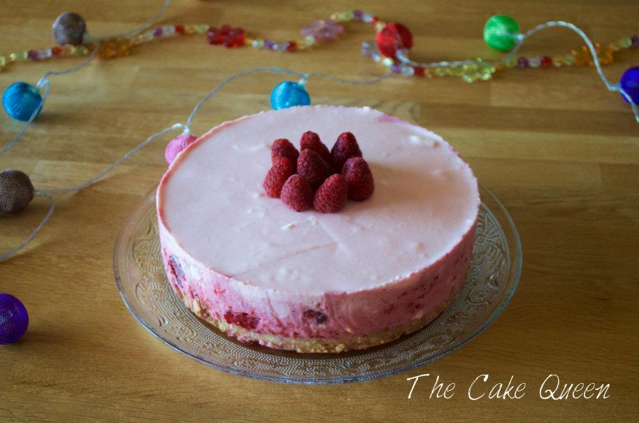 tarta cítrica de yogur y frambuesas