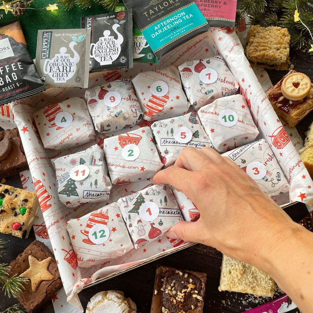 The Cake Tasting Club advent calendar filled with cakes, brownies and bars all individually wrapped for advent