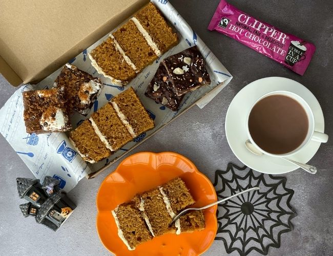 The Cake Tasting Club Halloween box of cakes, brookies and tiffin