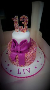 13th Birthday Sprinkles cake with giant bow