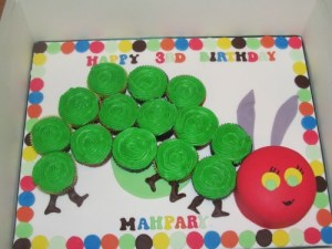 The Hungry Caterpillar Cupcakes and Mini Cake