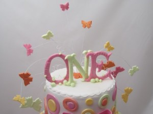 Butterflies Spray 1st birthday cake topper