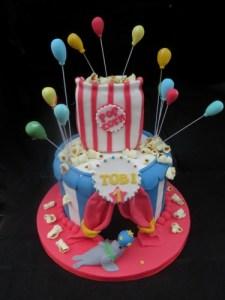 Circus Big tent cake with fondant popcorn