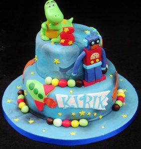 Dinosaur in Space themed birthday cake