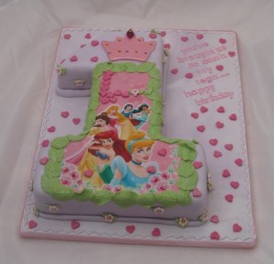 Number 1 Lilac Disney Princesses cake