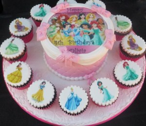 Disney princesses cake and cupcakes