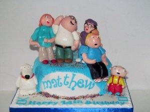 Family Guy Cake with Edible toppers of Stuey Peter Brian Lois Chris Meg