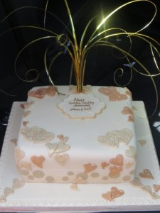 Gold and Bonze golden wedding anniversary cake