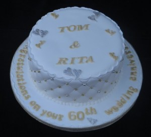 Gold and Silver Wedding Anniversary Cake