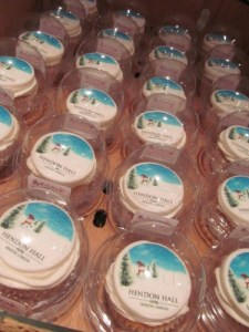 corporate logo vanilla cupcake in individual cake pods