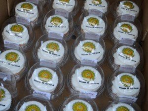 Corporate cupcakes with logo