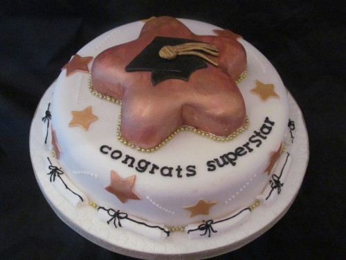 Superstar graduation cake