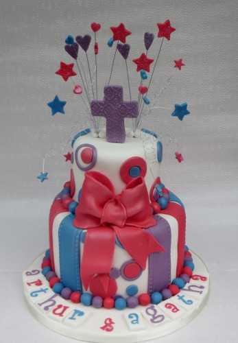 Wired Stars and hearts Baptism Cake