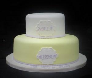 Pastel Yellow Christening Cake